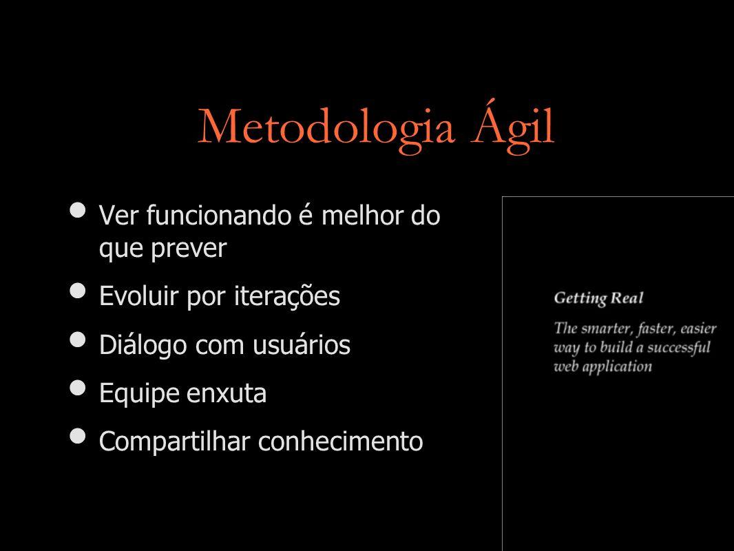 Metodologia Ágil Ver funcionando é melhor do que prever Evoluir por iterações Diálogo com usuários Equipe enxuta Compartilhar conhecimento