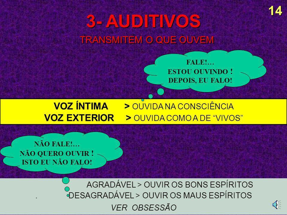 3- AUDITIVOS TRANSMITEM O QUE OUVEM AGRADÁVEL > OUVIR OS BONS ESPÍRITOS.