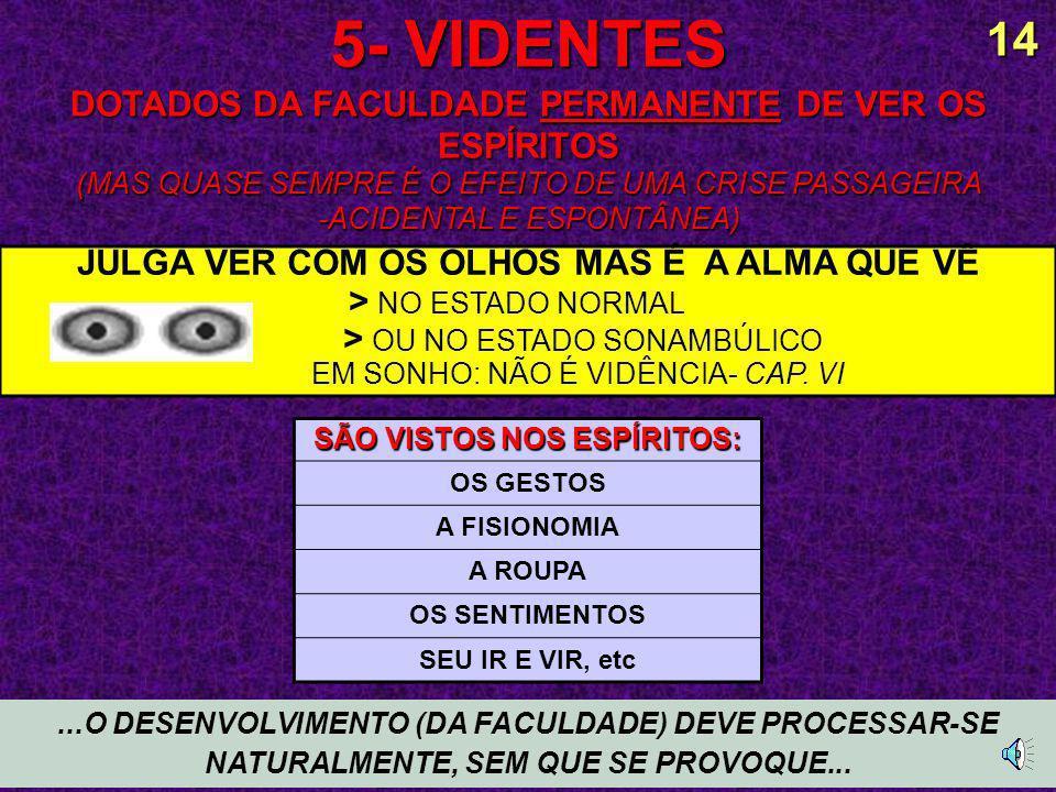 5- VIDENTES DOTADOS DA FACULDADE PERMANENTE DE VER OS ESPÍRITOS (MAS QUASE SEMPRE É O EFEITO DE UMA CRISE PASSAGEIRA -ACIDENTAL E ESPONTÂNEA)...O DESENVOLVIMENTO (DA FACULDADE) DEVE PROCESSAR-SE NATURALMENTE, SEM QUE SE PROVOQUE...