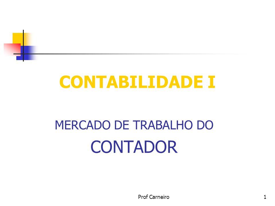 Prof Carneiro1 CONTABILIDADE I MERCADO DE TRABALHO DO CONTADOR