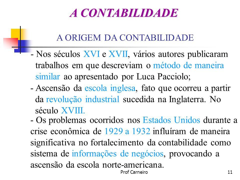 Prof Carneiro11 A ORIGEM DA CONTABILIDADE - Nos séculos XVI e XVII, vários autores publicaram trabalhos em que descreviam o método de maneira similar