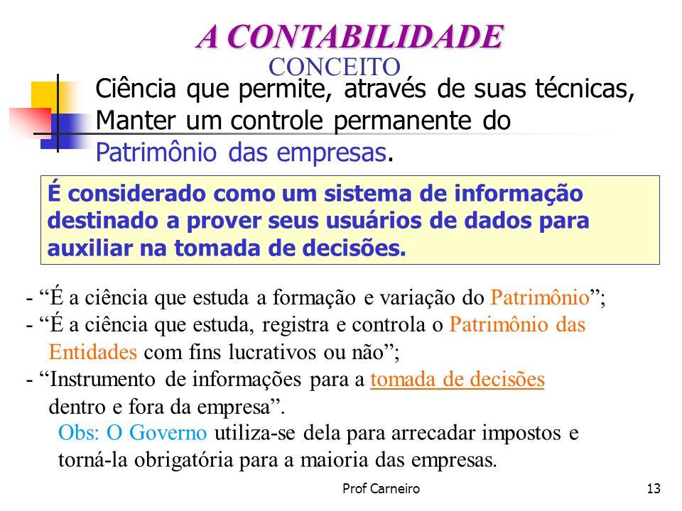 Prof Carneiro13 CONCEITO - É a ciência que estuda a formação e variação do Patrimônio; - É a ciência que estuda, registra e controla o Patrimônio das