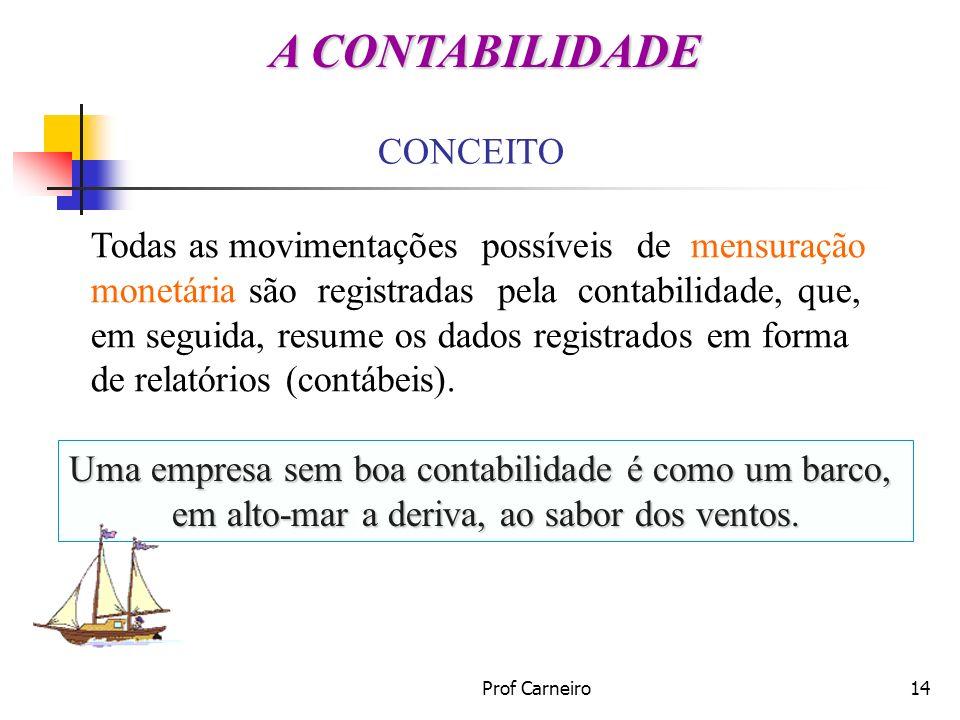 Prof Carneiro14 CONCEITO Todas as movimentações possíveis de mensuração monetária são registradas pela contabilidade, que, em seguida, resume os dados