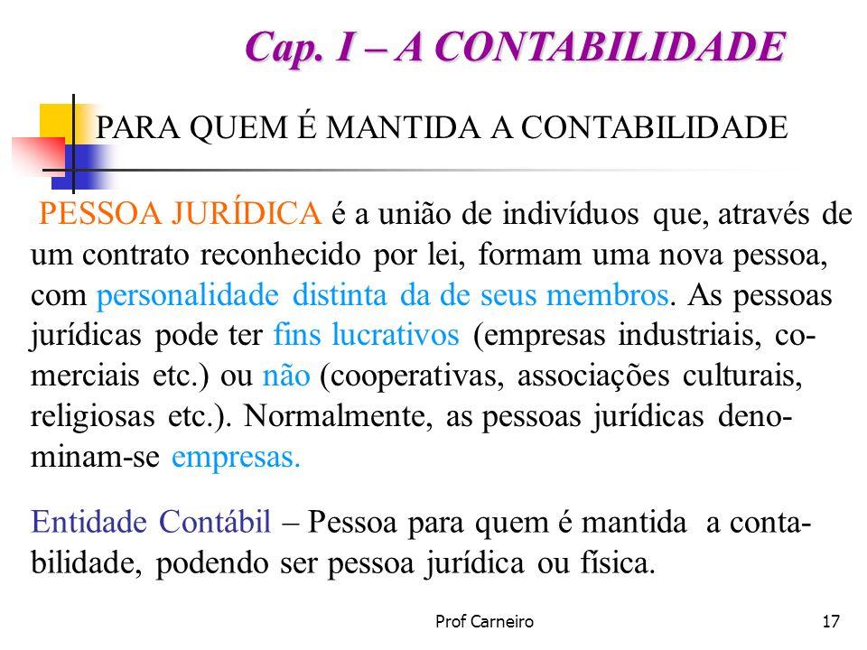 Prof Carneiro17 PARA QUEM É MANTIDA A CONTABILIDADE PESSOA JURÍDICA é a união de indivíduos que, através de um contrato reconhecido por lei, formam um