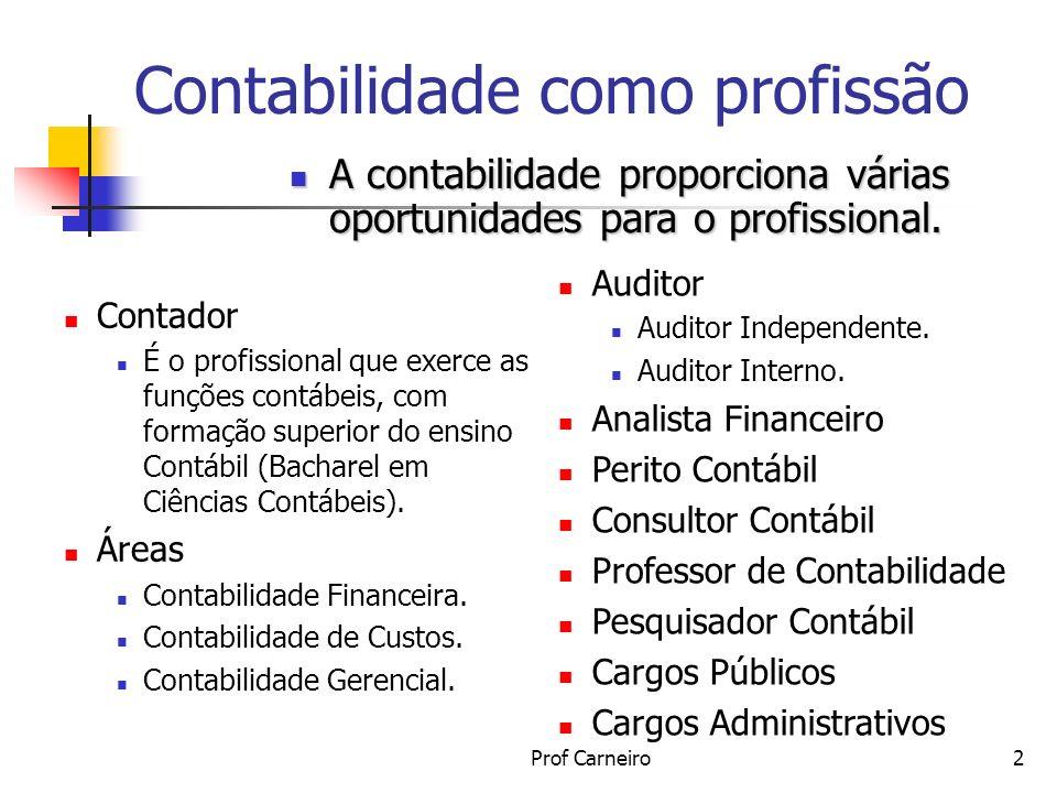 Prof Carneiro3 Contabilidade como profissão Alternativas do contador CONTADOR NA EMPRESA CONTADOR GERAL; DE CUSTOS; CONTROLLER SUB CONTADOR; ETC AUDITOR INTERNO; CONTADOR FISCAL CARGOS ADMINISTRATIVOS INDEPENDENTE (AUTÔNOMO) AUDITOR INDEPENDENTE CONSULTOR ESCRITÓRIO DE CONTABILIDADE PERITO CONTÁBIL NO ENSINO PROFESSOR PESQUISADOR ESCRITOR CONSULTOR ÓRGÃO PÚBLICO CONTADOR PÚBLICO FISCAL DE TRIBUTOS CONTROLADOR DE ARECADAÇÃO TRIBUNAL DE CONTAS