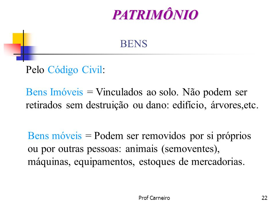 Prof Carneiro22 BENS Pelo Código Civil: Bens Imóveis = Vinculados ao solo. Não podem ser retirados sem destruição ou dano: edifício, árvores,etc. Bens