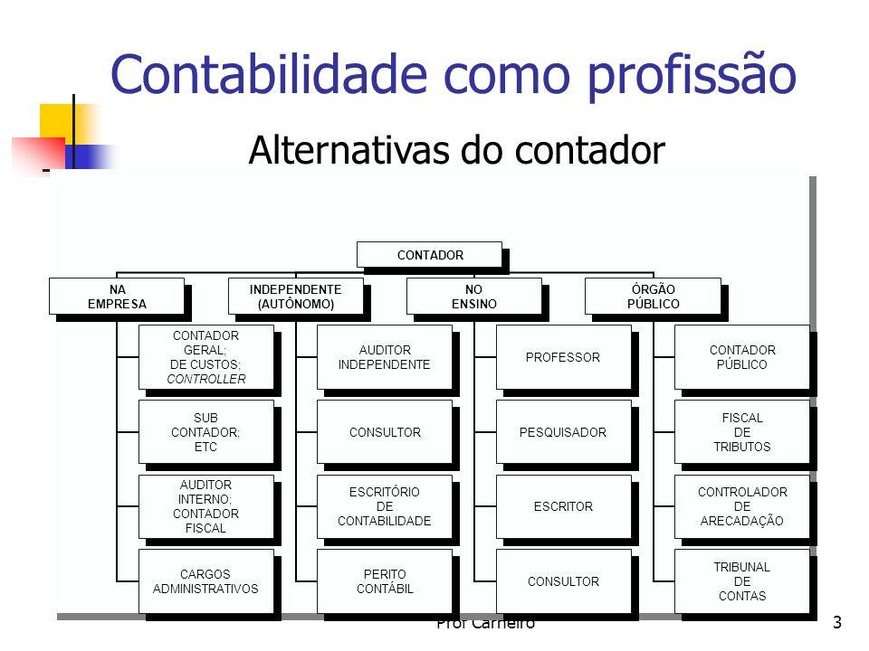 Prof Carneiro3 Contabilidade como profissão Alternativas do contador CONTADOR NA EMPRESA CONTADOR GERAL; DE CUSTOS; CONTROLLER SUB CONTADOR; ETC AUDIT