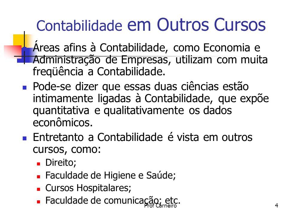 Prof Carneiro4 Contabilidade em Outros Cursos Áreas afins à Contabilidade, como Economia e Administração de Empresas, utilizam com muita freqüência a