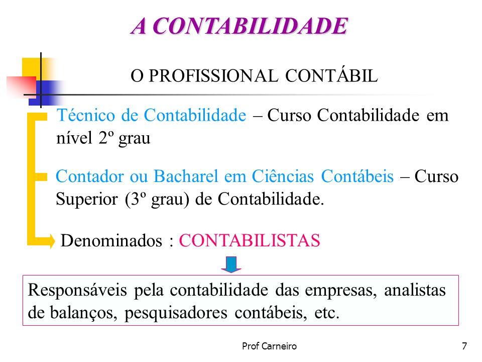 Prof Carneiro7 O PROFISSIONAL CONTÁBIL Técnico de Contabilidade – Curso Contabilidade em nível 2º grau Contador ou Bacharel em Ciências Contábeis – Cu