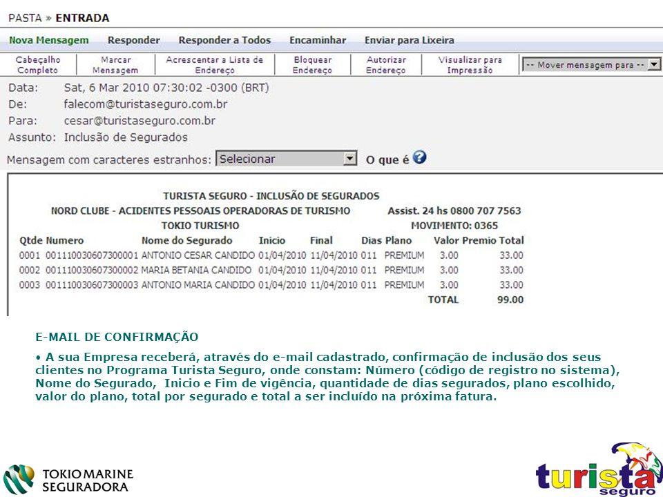 E-MAIL DE CONFIRMAÇÃO A sua Empresa receberá, através do e-mail cadastrado, confirmação de inclusão dos seus clientes no Programa Turista Seguro, onde