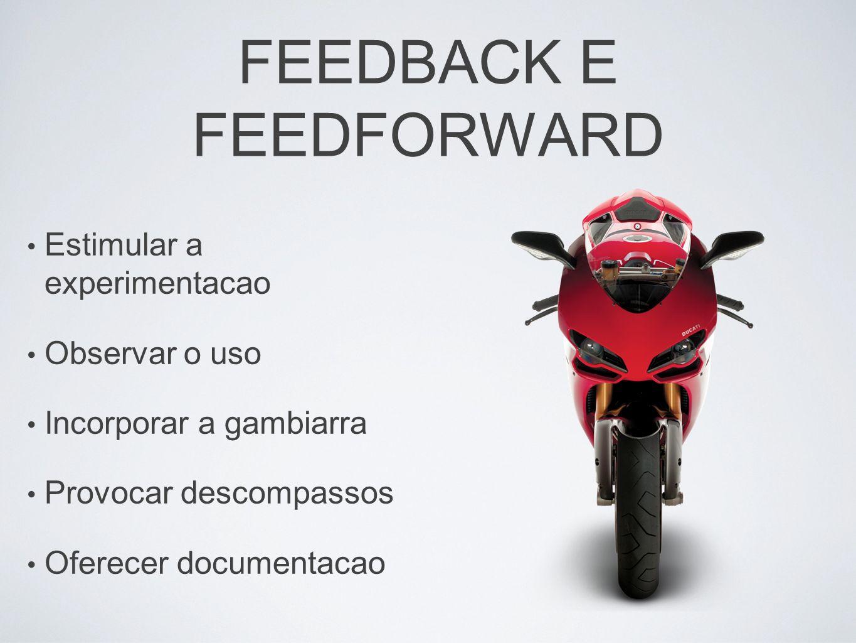 FEEDBACK E FEEDFORWARD Estimular a experimentacao Observar o uso Incorporar a gambiarra Provocar descompassos Oferecer documentacao