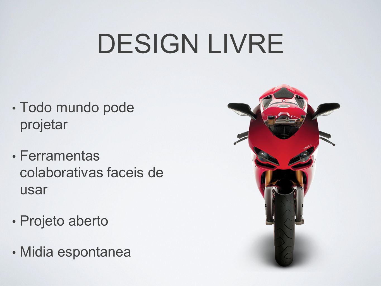 DESIGN LIVRE Todo mundo pode projetar Ferramentas colaborativas faceis de usar Projeto aberto Midia espontanea