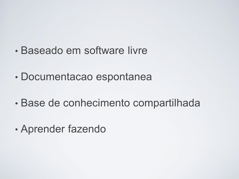 Baseado em software livre Documentacao espontanea Base de conhecimento compartilhada Aprender fazendo