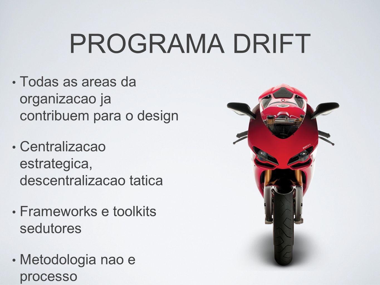 PROGRAMA DRIFT Todas as areas da organizacao ja contribuem para o design Centralizacao estrategica, descentralizacao tatica Frameworks e toolkits sedu