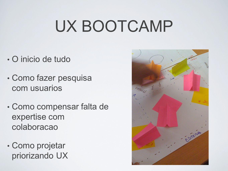 UX BOOTCAMP O inicio de tudo Como fazer pesquisa com usuarios Como compensar falta de expertise com colaboracao Como projetar priorizando UX