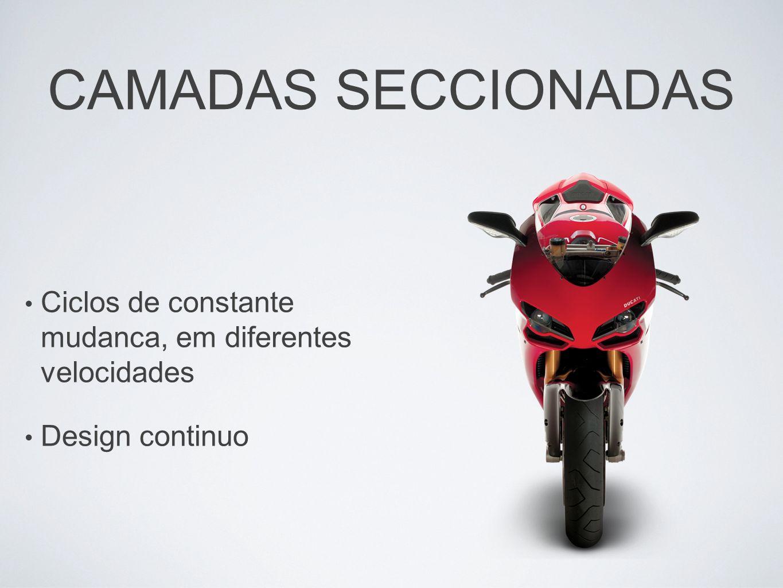CAMADAS SECCIONADAS Ciclos de constante mudanca, em diferentes velocidades Design continuo