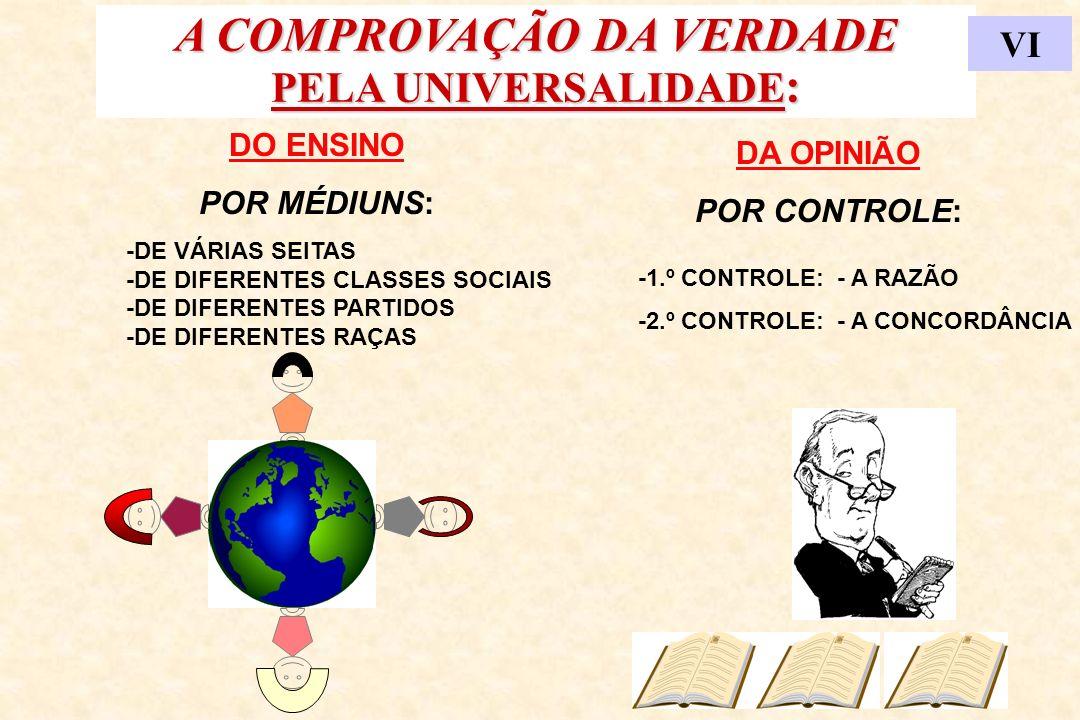 A COMPROVAÇÃO DA VERDADE PELA UNIVERSALIDADE : VI DO ENSINO POR MÉDIUNS: -DE VÁRIAS SEITAS -DE DIFERENTES CLASSES SOCIAIS -DE DIFERENTES PARTIDOS -DE