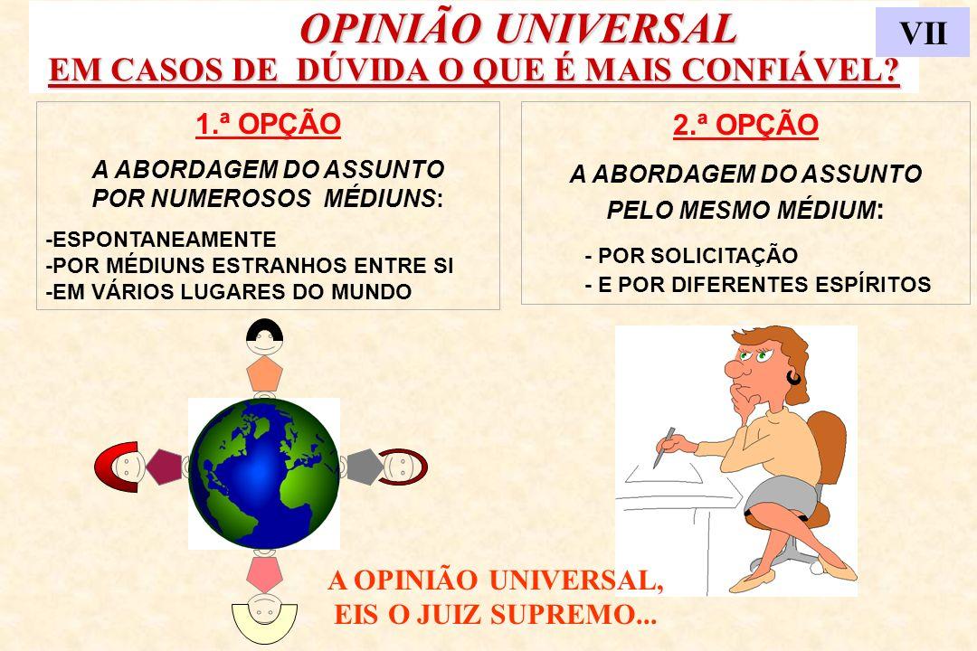 OPINIÃO UNIVERSAL EM CASOS DE DÚVIDA O QUE É MAIS CONFIÁVEL? OPINIÃO UNIVERSAL EM CASOS DE DÚVIDA O QUE É MAIS CONFIÁVEL? VII 1.ª OPÇÃO A ABORDAGEM DO