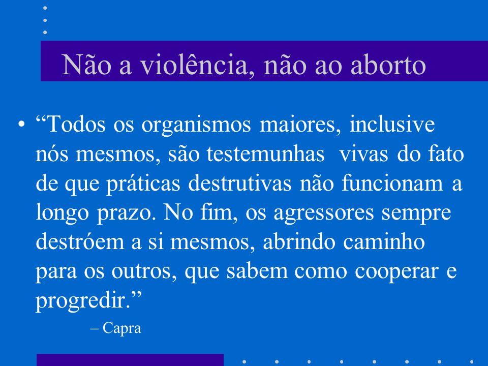 Razões contra o Aborto O embrião e a diversidade devem ser respeitados O feto tem psicologia própria A violência é incompatível com as leis da vida