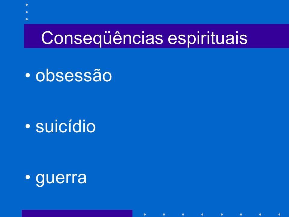 Conseqüências espirituais obsessão suicídio guerra