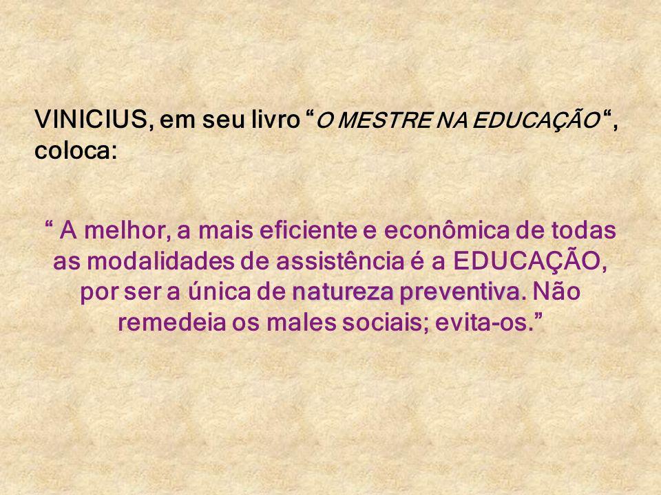 VINICIUS, em seu livro O MESTRE NA EDUCAÇÃO, coloca: natureza preventiva A melhor, a mais eficiente e econômica de todas as modalidades de assistência