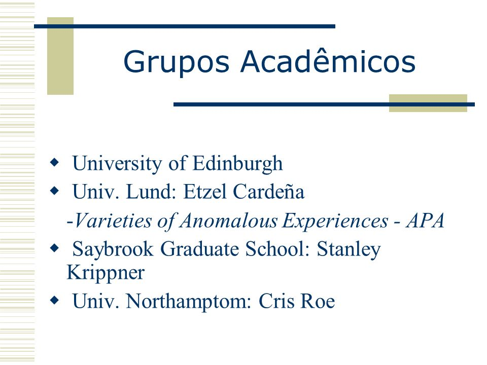 Grupos Acadêmicos University of Edinburgh Univ.