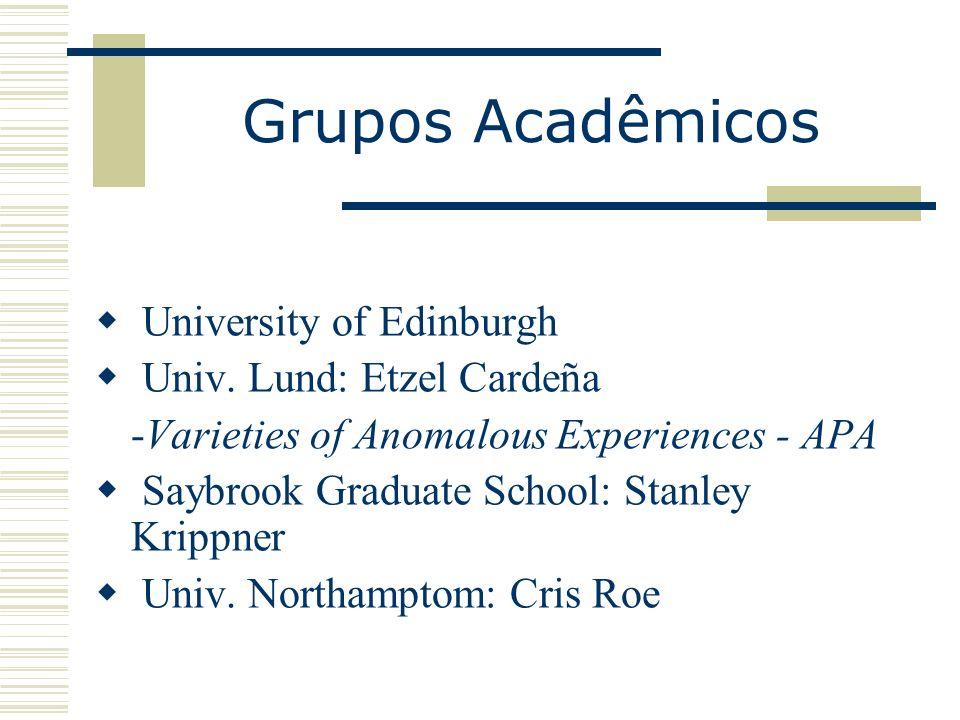 Grupos Acadêmicos University of Edinburgh Univ. Lund: Etzel Cardeña -Varieties of Anomalous Experiences - APA Saybrook Graduate School: Stanley Krippn