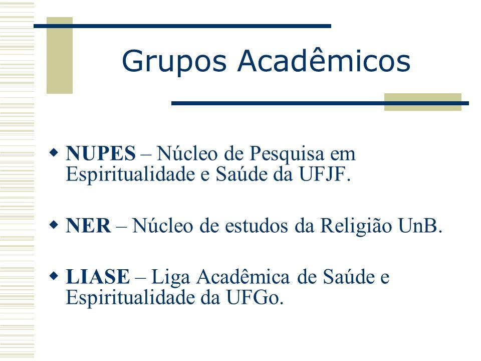 Grupos Acadêmicos NUPES – Núcleo de Pesquisa em Espiritualidade e Saúde da UFJF. NER – Núcleo de estudos da Religião UnB. LIASE – Liga Acadêmica de Sa