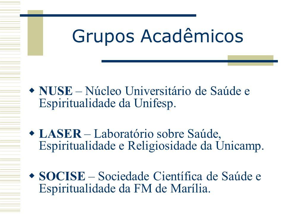 Grupos Acadêmicos NUSE – Núcleo Universitário de Saúde e Espiritualidade da Unifesp. LASER – Laboratório sobre Saúde, Espiritualidade e Religiosidade