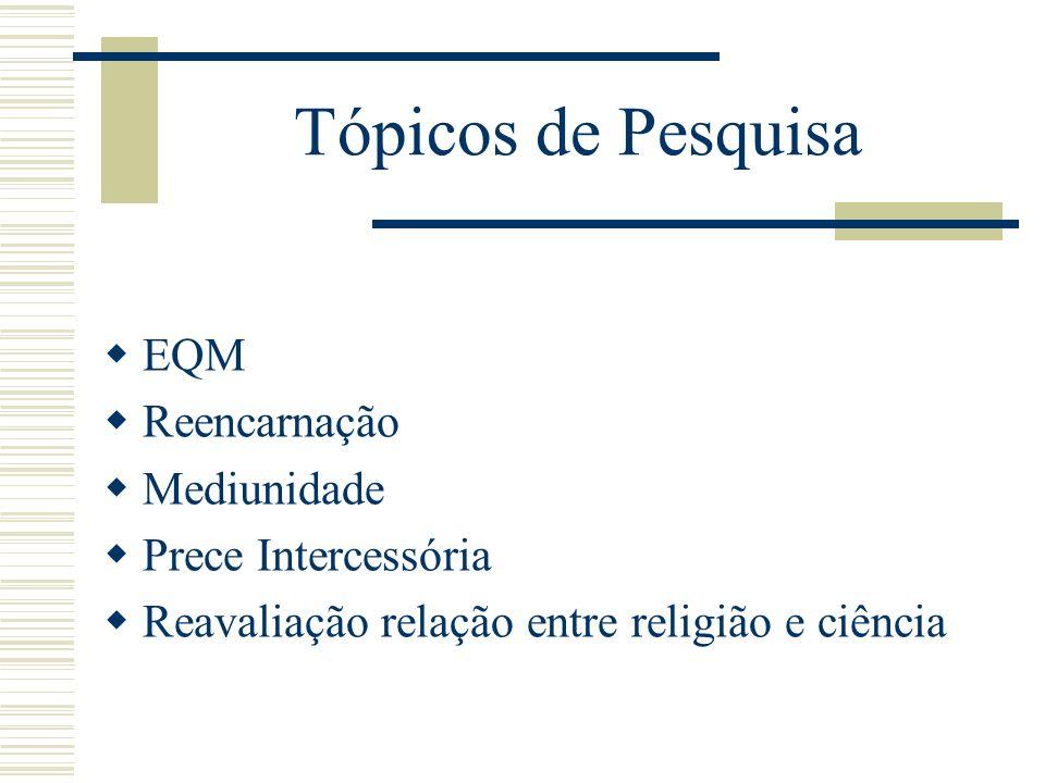 Tópicos de Pesquisa EQM Reencarnação Mediunidade Prece Intercessória Reavaliação relação entre religião e ciência