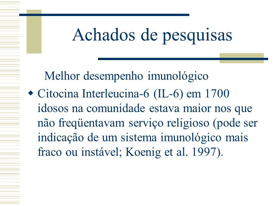 Achados de pesquisas Melhor desempenho imunológico Citocina Interleucina-6 (IL-6) em 1700 idosos na comunidade estava maior nos que não freqüentavam s