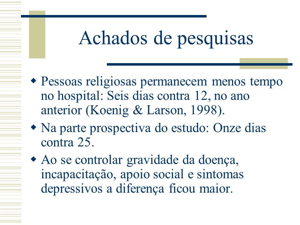 Achados de pesquisas Pessoas religiosas permanecem menos tempo no hospital: Seis dias contra 12, no ano anterior (Koenig & Larson, 1998). Na parte pro