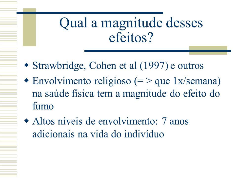Qual a magnitude desses efeitos? Strawbridge, Cohen et al (1997) e outros Envolvimento religioso (= > que 1x/semana) na saúde física tem a magnitude d