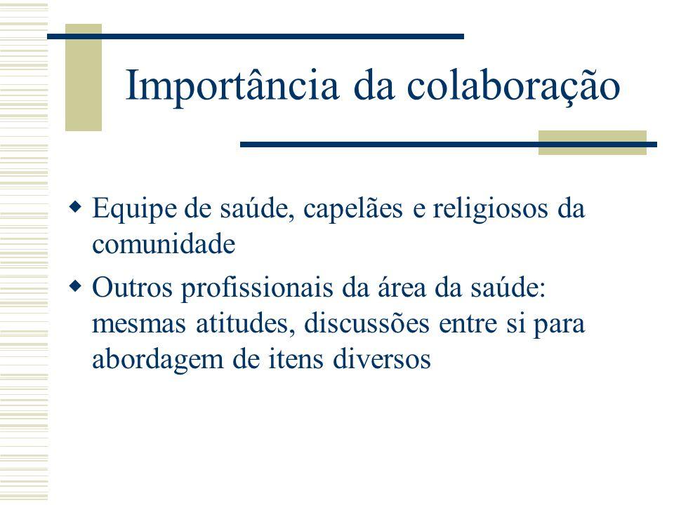 Importância da colaboração Equipe de saúde, capelães e religiosos da comunidade Outros profissionais da área da saúde: mesmas atitudes, discussões ent
