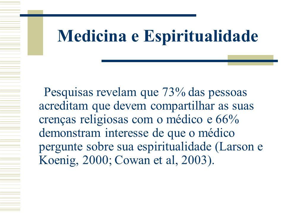 Medicina e Espiritualidade Pesquisas revelam que 73% das pessoas acreditam que devem compartilhar as suas crenças religiosas com o médico e 66% demons