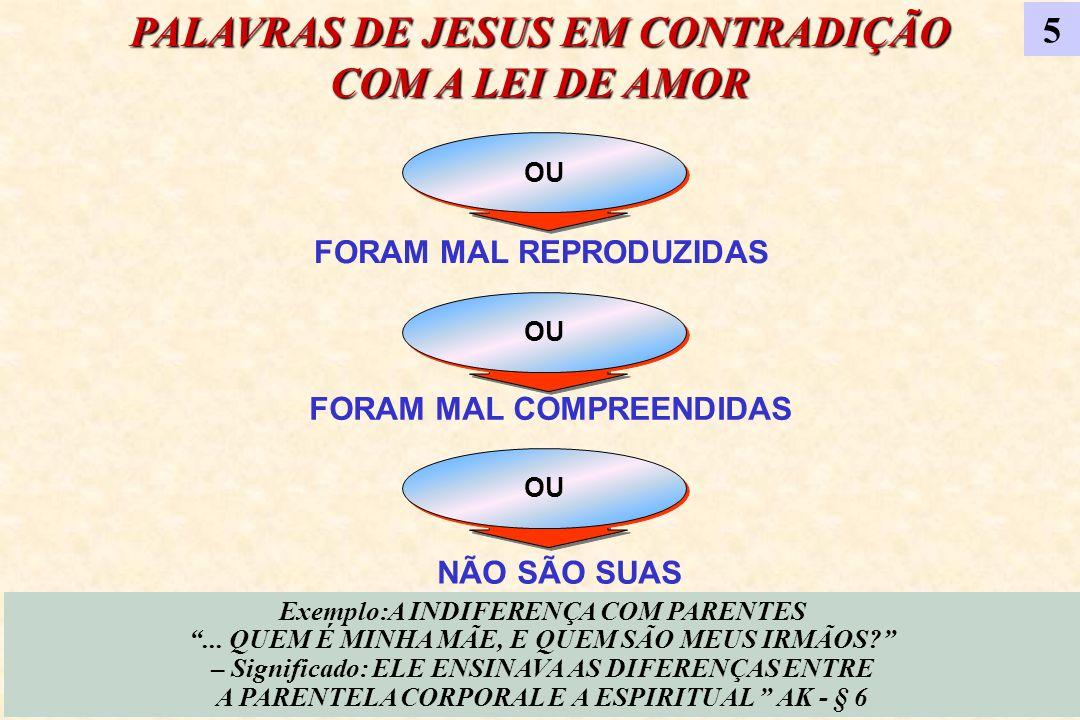 OU FORAM MAL REPRODUZIDAS OU FORAM MAL COMPREENDIDAS OU NÃO SÃO SUAS PALAVRAS DE JESUS EM CONTRADIÇÃO COM A LEI DE AMOR Exemplo:A INDIFERENÇA COM PARE