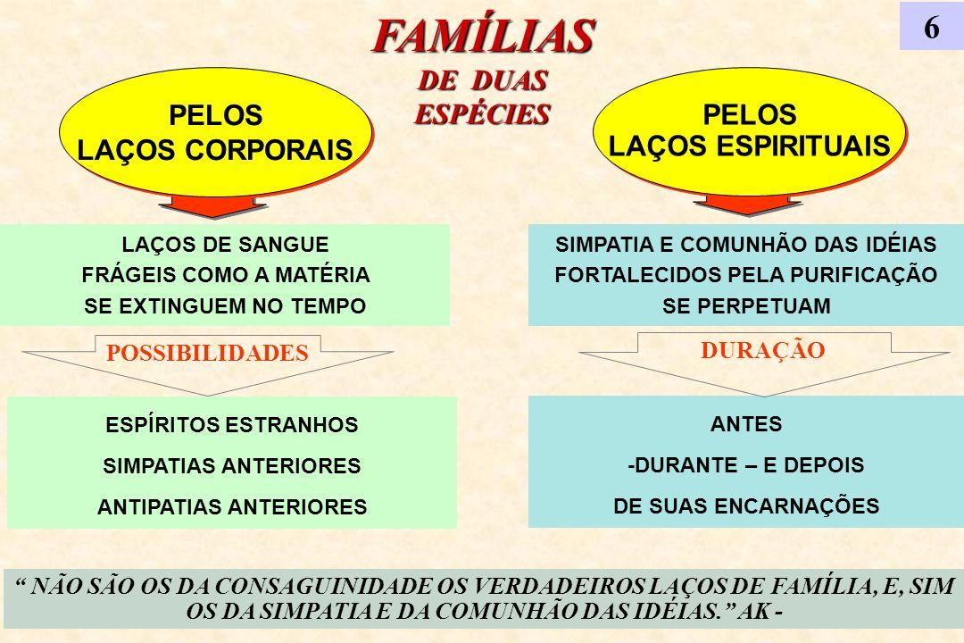 FAMÍLIAS DE DUAS ESPÉCIES 6 PELOS LAÇOS CORPORAIS PELOS LAÇOS CORPORAIS PELOS LAÇOS ESPIRITUAIS PELOS LAÇOS ESPIRITUAIS NÃO SÃO OS DA CONSAGUINIDADE O