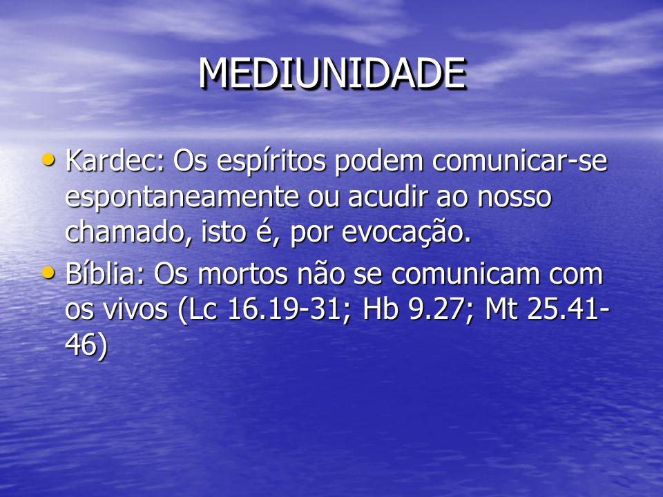 MEDIUNIDADEMEDIUNIDADE Kardec: Os espíritos podem comunicar-se espontaneamente ou acudir ao nosso chamado, isto é, por evocação. Kardec: Os espíritos