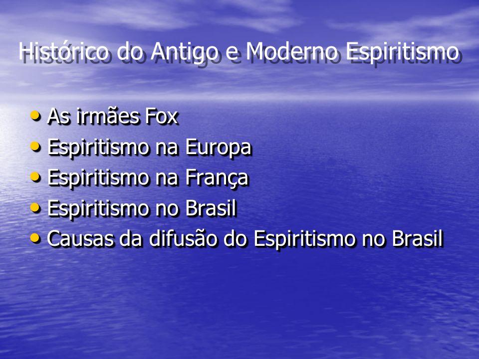 Histórico do Antigo e Moderno Espiritismo As irmães Fox As irmães Fox Espiritismo na Europa Espiritismo na Europa Espiritismo na França Espiritismo na