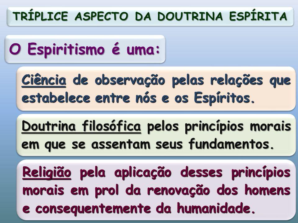 O Espiritismo é uma: Ciência de observação pelas relações que estabelece entre nós e os Espíritos.