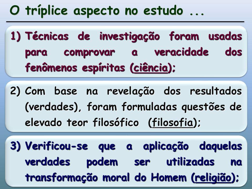 1)Técnicas de investigação foram usadas para comprovar a veracidade dos fenômenos espíritas (ciência); O tríplice aspecto no estudo...