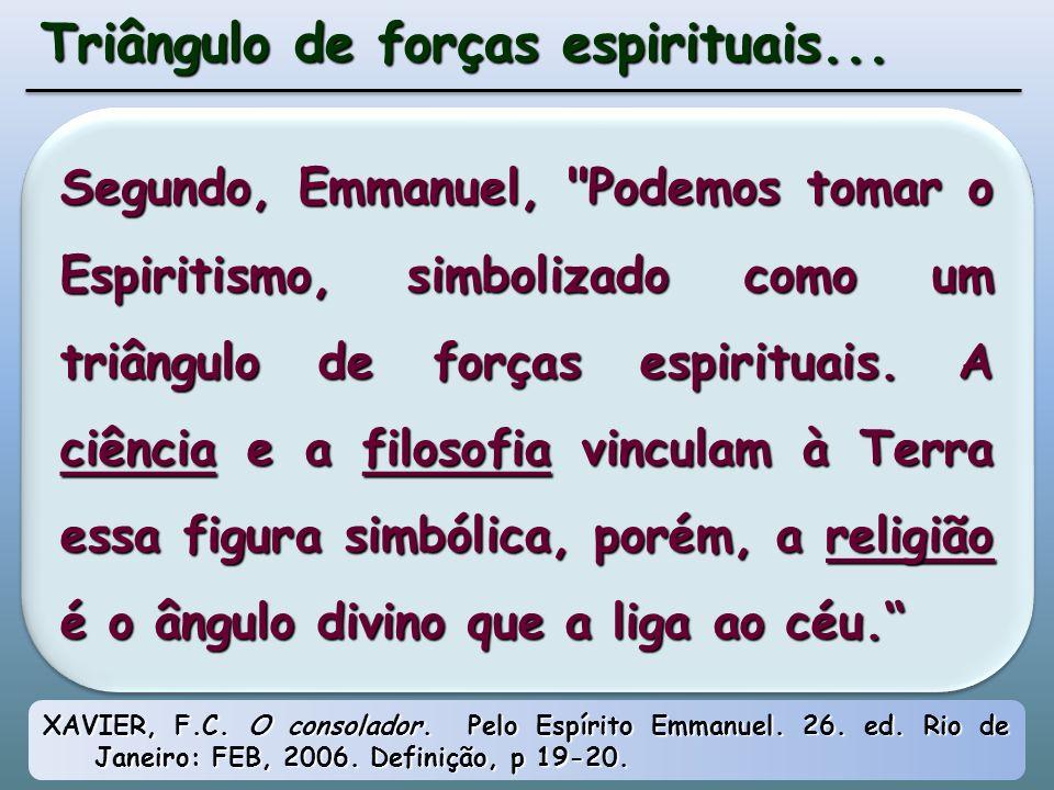 Segundo, Emmanuel, Podemos tomar o Espiritismo, simbolizado como um triângulo de forças espirituais.