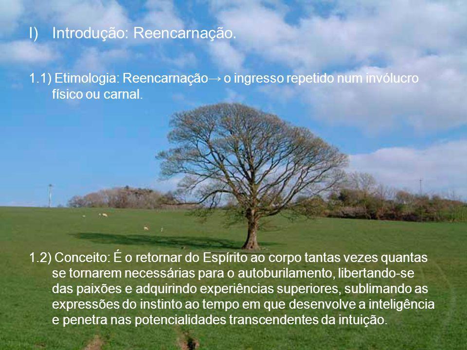 I)Introdução: Reencarnação. 1.1) Etimologia: Reencarnação o ingresso repetido num invólucro físico ou carnal. 1.2) Conceito: É o retornar do Espírito