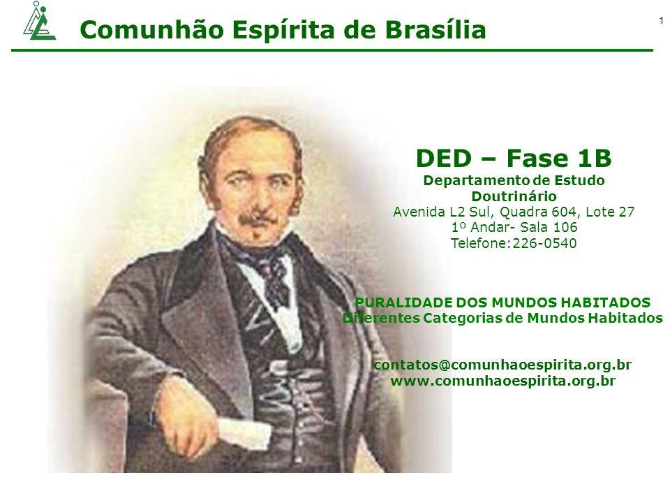 Comunhão Espírita de Brasília 1 DED – Fase 1B Departamento de Estudo Doutrinário Avenida L2 Sul, Quadra 604, Lote 27 1º Andar- Sala 106 Telefone:226-0