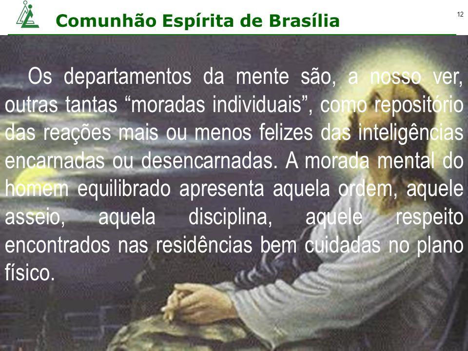 Comunhão Espírita de Brasília 12 Os departamentos da mente são, a nosso ver, outras tantas moradas individuais, como repositório das reações mais ou m