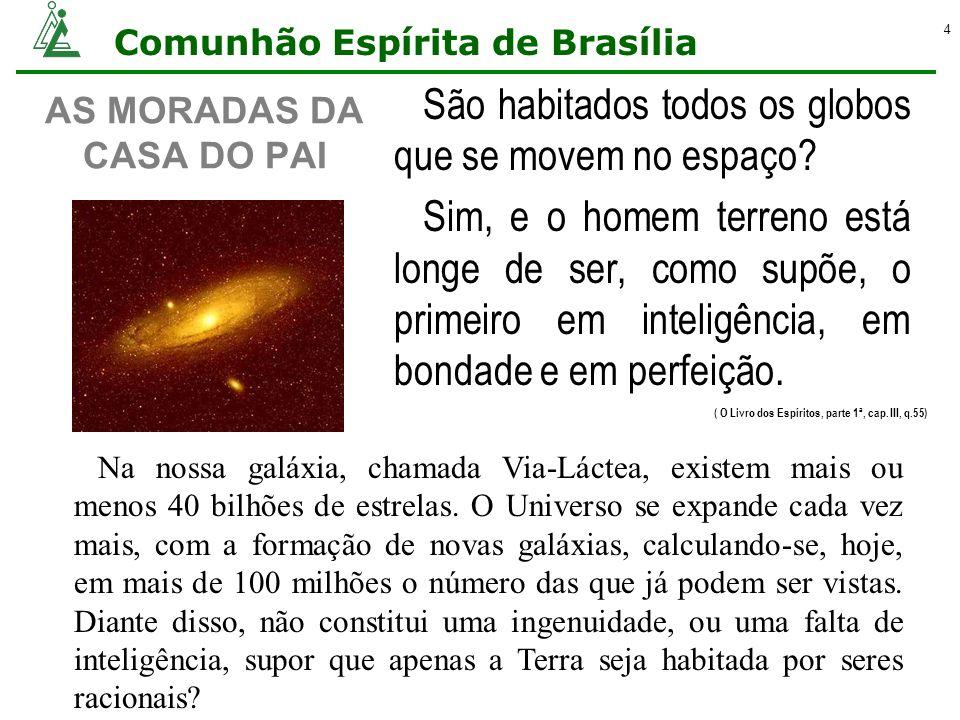 Comunhão Espírita de Brasília 4 AS MORADAS DA CASA DO PAI São habitados todos os globos que se movem no espaço? Sim, e o homem terreno está longe de s
