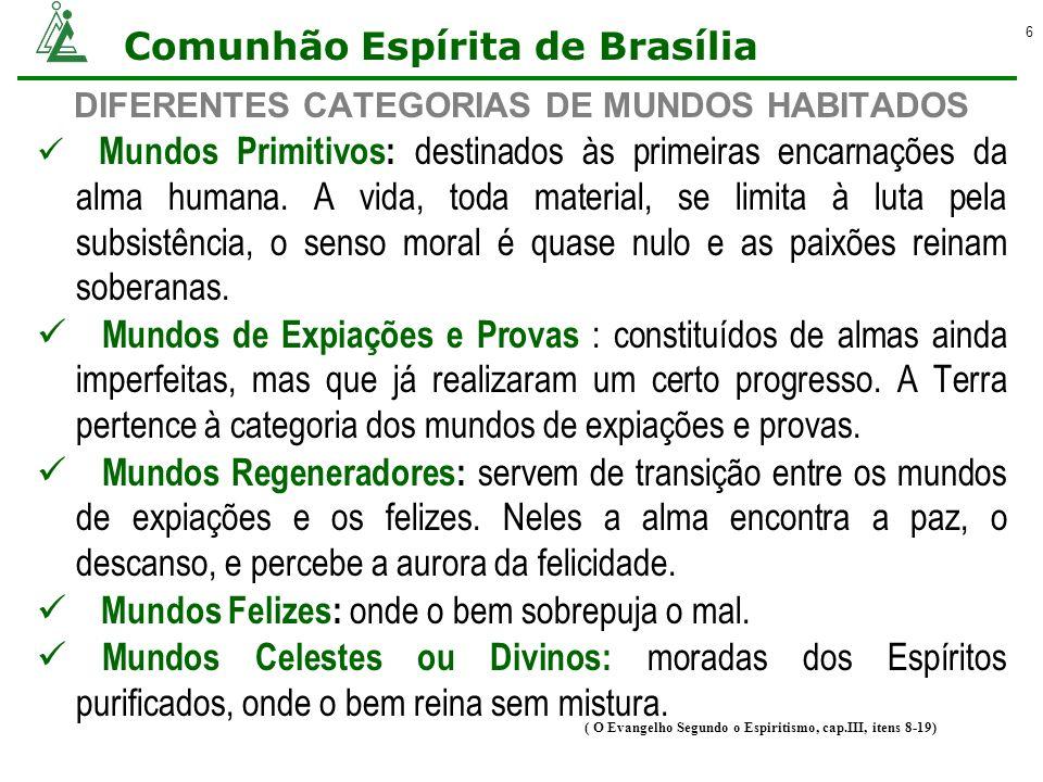 Comunhão Espírita de Brasília 6 DIFERENTES CATEGORIAS DE MUNDOS HABITADOS Mundos Primitivos: destinados às primeiras encarnações da alma humana. A vid