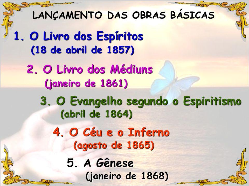 LANÇAMENTO DAS OBRAS BÁSICAS 1. O Livro dos Espíritos 2. O Livro dos Médiuns 3. O Evangelho segundo o Espiritismo 4. O Céu e o Inferno 5. A Gênese (18