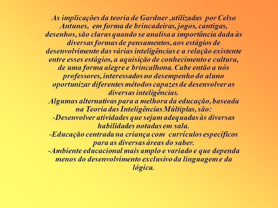 As implicações da teoria de Gardner,utilizadas por Celso Antunes, em forma de brincadeiras, jogos, cantigas, desenhos, são claras quando se analisa a