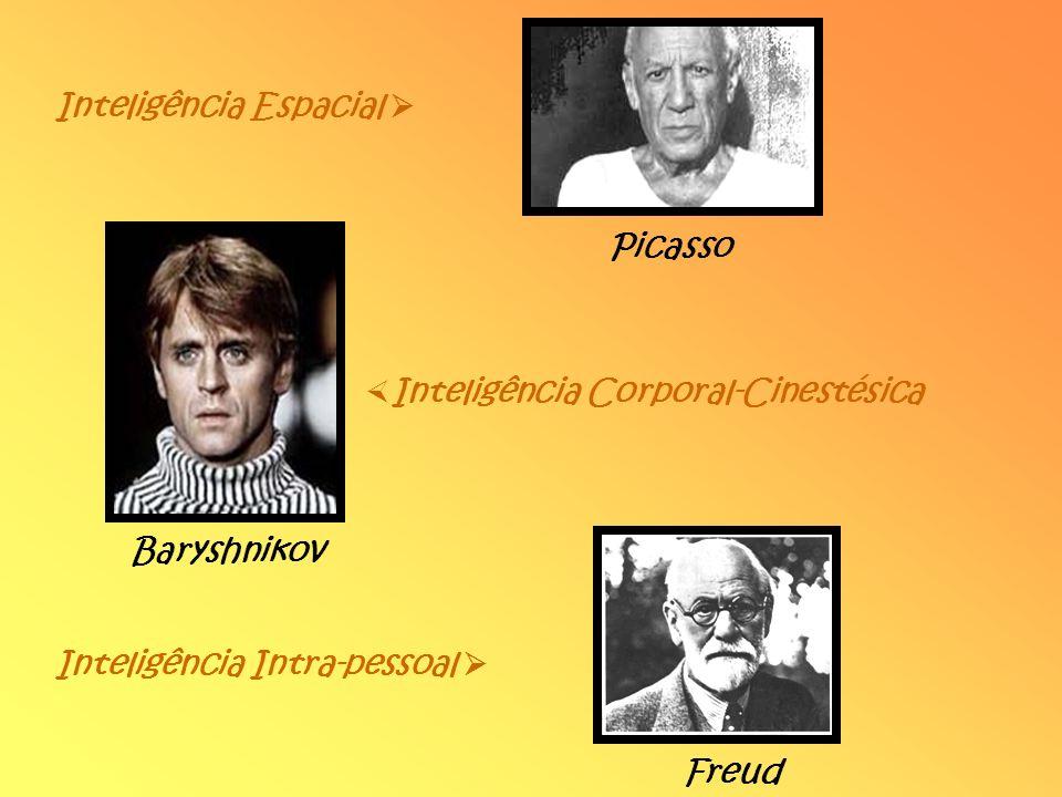 Inteligência Espacial Inteligência Corporal-Cinestésica Picasso Baryshnikov Inteligência Intra-pessoal Freud